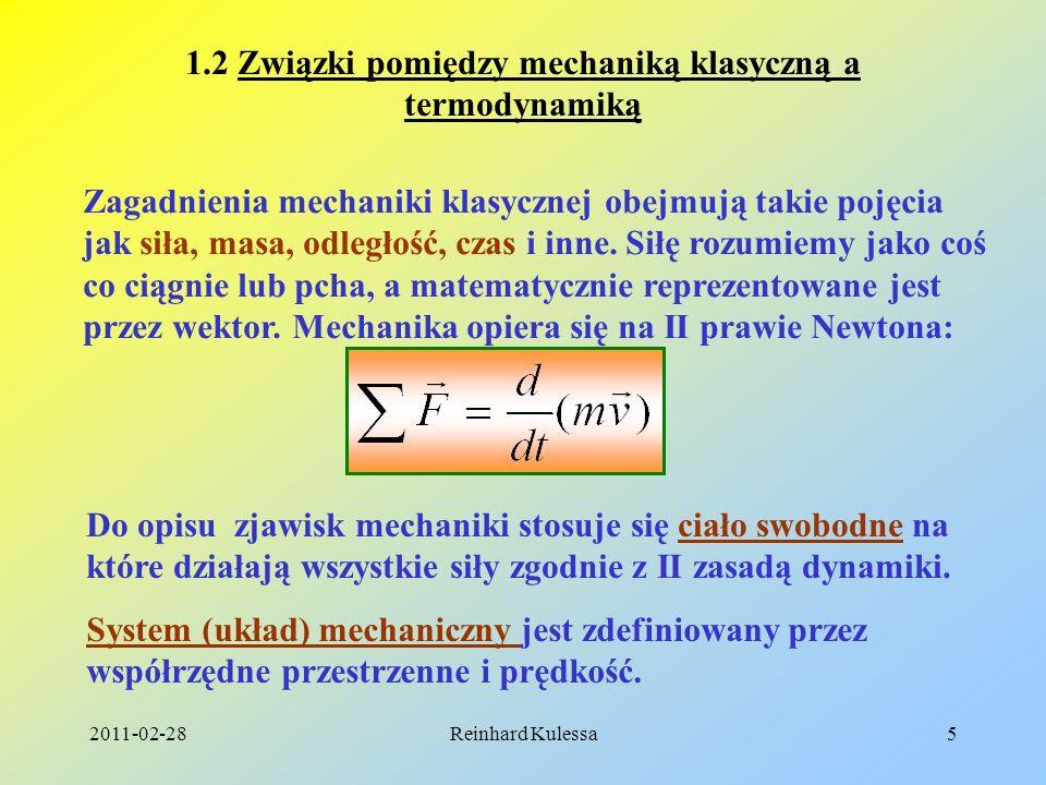 1.2 Związki pomiędzy mechaniką klasyczną a termodynamiką