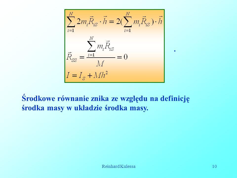Środkowe równanie znika ze względu na definicję środka masy w układzie środka masy.