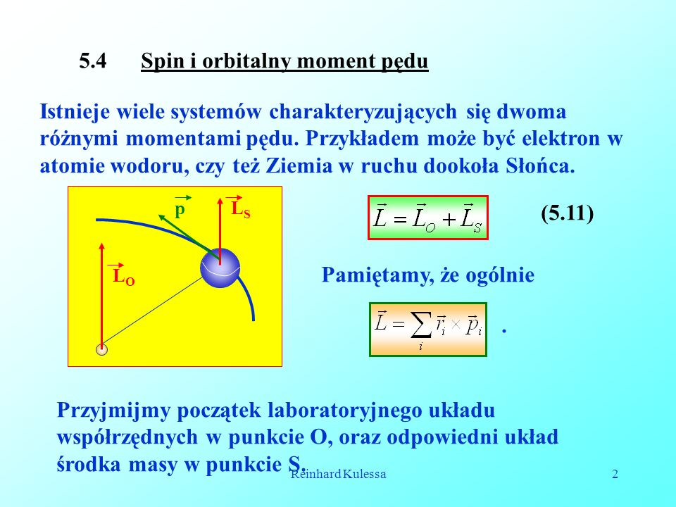5.4 Spin i orbitalny moment pędu