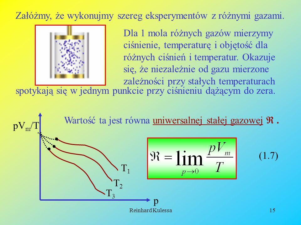 Załóżmy, że wykonujmy szereg eksperymentów z różnymi gazami.