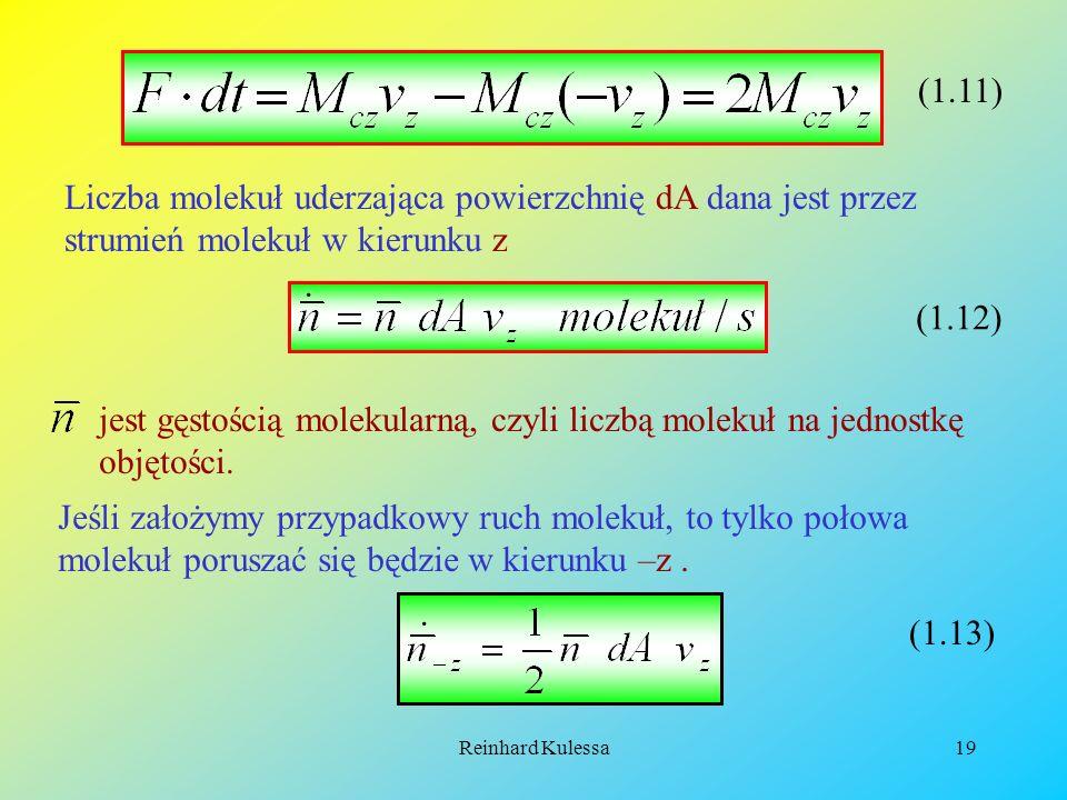 (1.11) Liczba molekuł uderzająca powierzchnię dA dana jest przez strumień molekuł w kierunku z. · (1.12)
