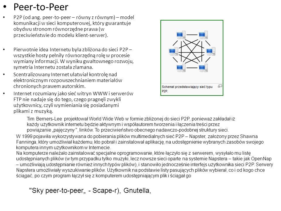 """Peer-to-Peer Sky peer-to-peer"""" - Scape-r), Gnutella,"""