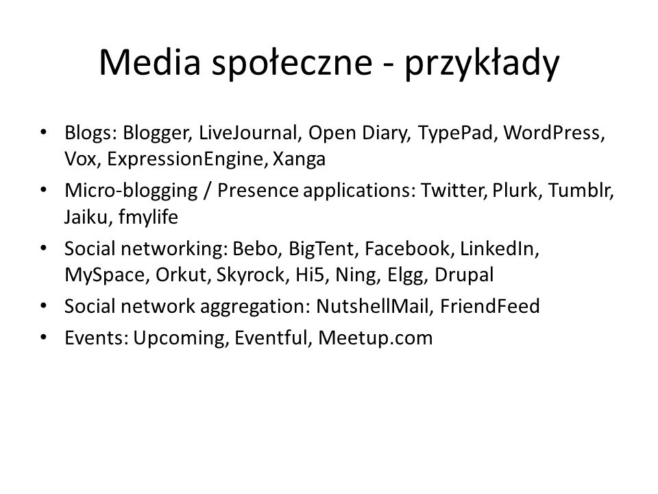 Media społeczne - przykłady