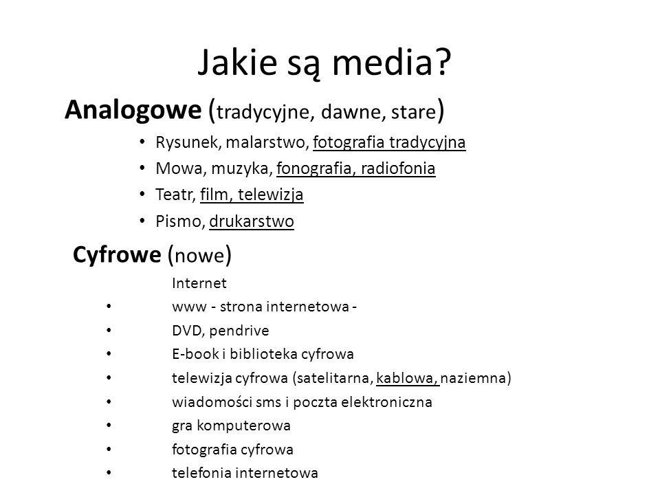 Jakie są media Analogowe (tradycyjne, dawne, stare) Cyfrowe (nowe)