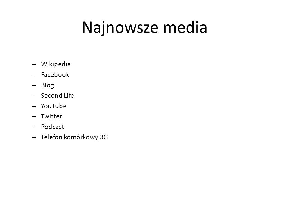 Najnowsze media Wikipedia Facebook Blog Second Life YouTube Twitter