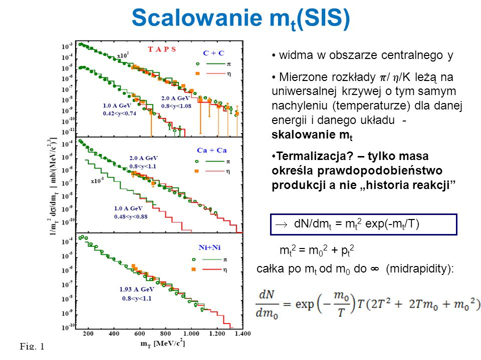 Scalowanie mt(SIS) widma w obszarze centralnego y