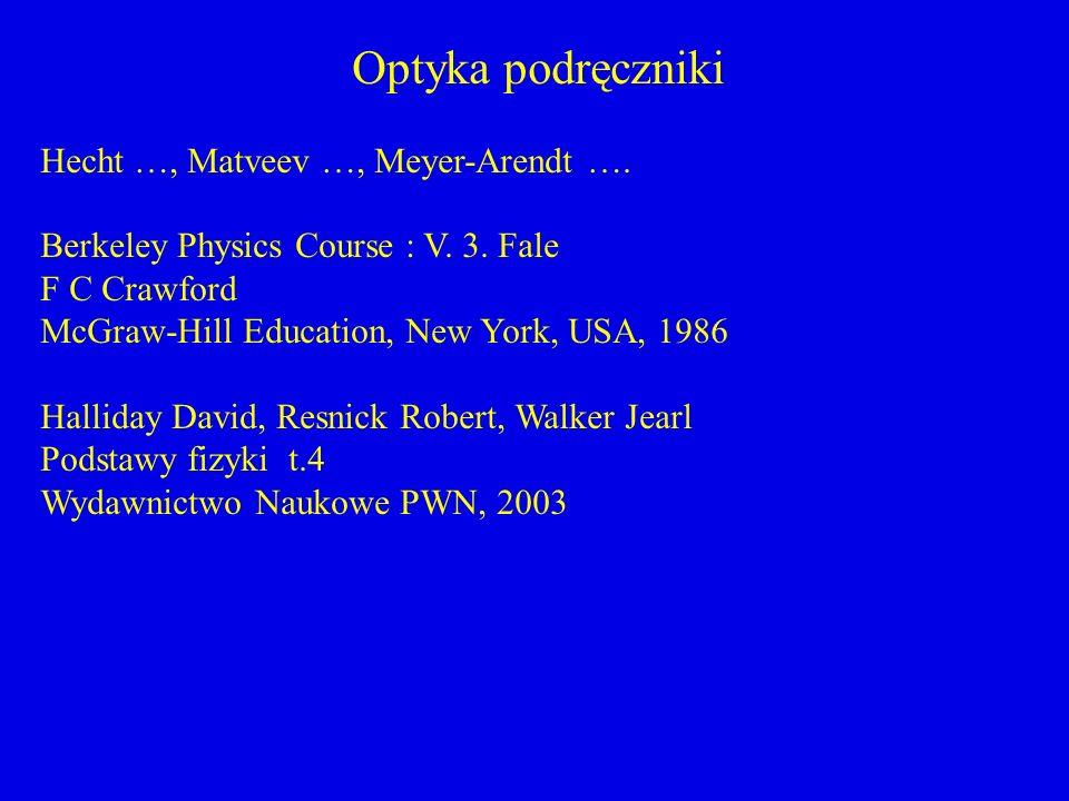 Optyka podręczniki Hecht …, Matveev …, Meyer-Arendt ….