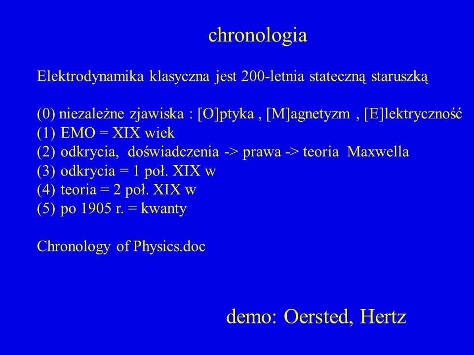 chronologia demo: Oersted, Hertz