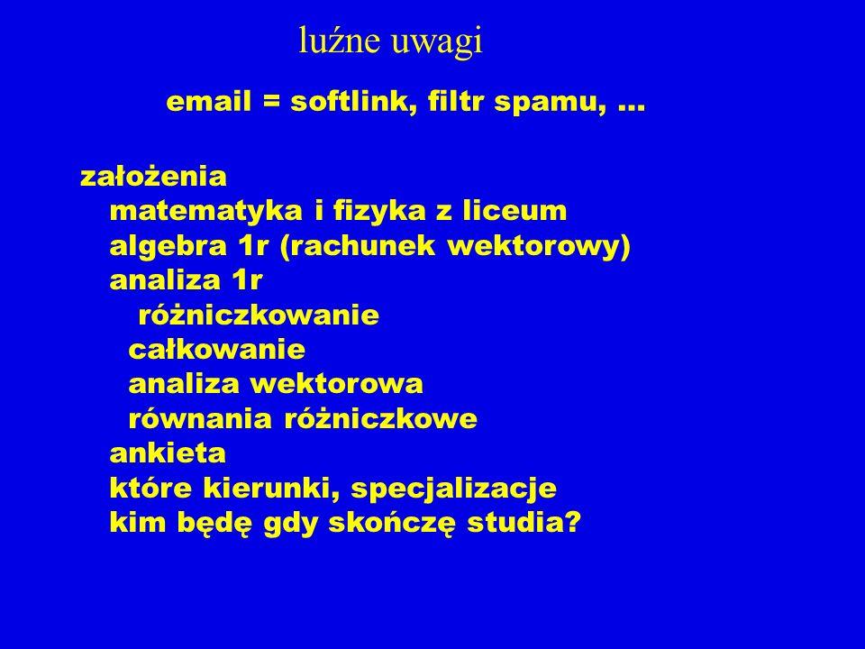 luźne uwagi email = softlink, filtr spamu, …