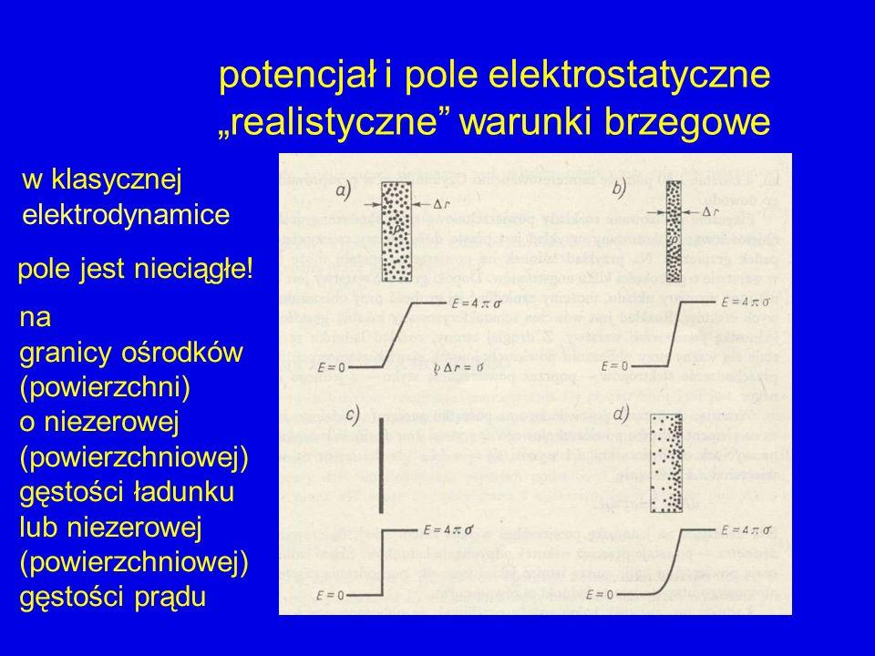 """potencjał i pole elektrostatyczne """"realistyczne warunki brzegowe"""