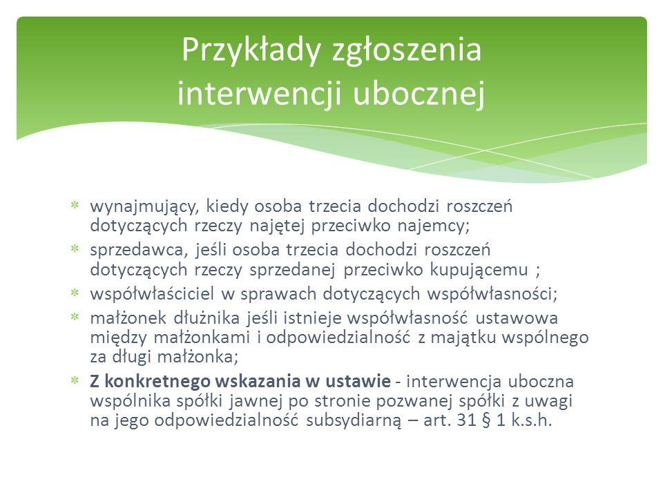 Przykłady zgłoszenia interwencji ubocznej