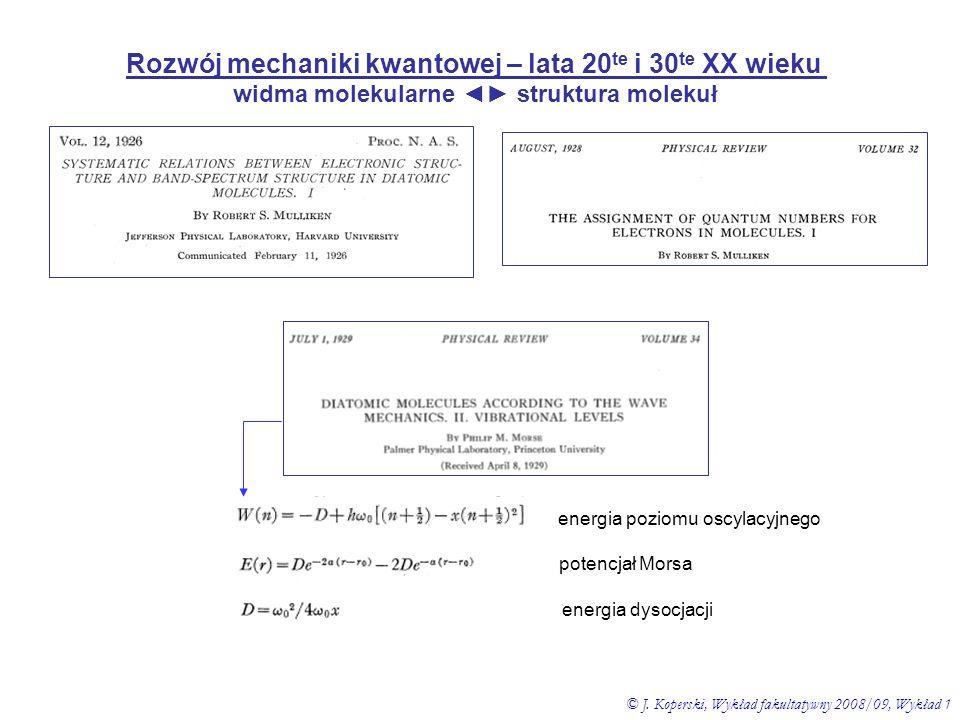Rozwój mechaniki kwantowej – lata 20te i 30te XX wieku