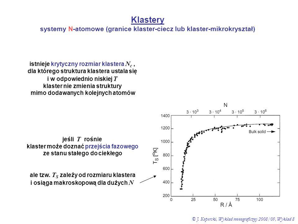 Klastery systemy N-atomowe (granice klaster-ciecz lub klaster-mikrokryształ) istnieje krytyczny rozmiar klastera Nc ,