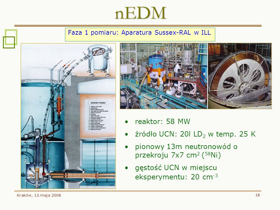 nEDM reaktor: 58 MW źródło UCN: 20l LD2 w temp. 25 K