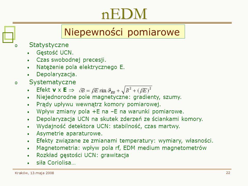 nEDM Niepewności pomiarowe Statystyczne Systematyczne Gęstość UCN.
