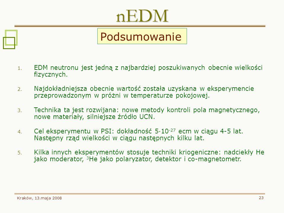 nEDM Podsumowanie. EDM neutronu jest jedną z najbardziej poszukiwanych obecnie wielkości fizycznych.