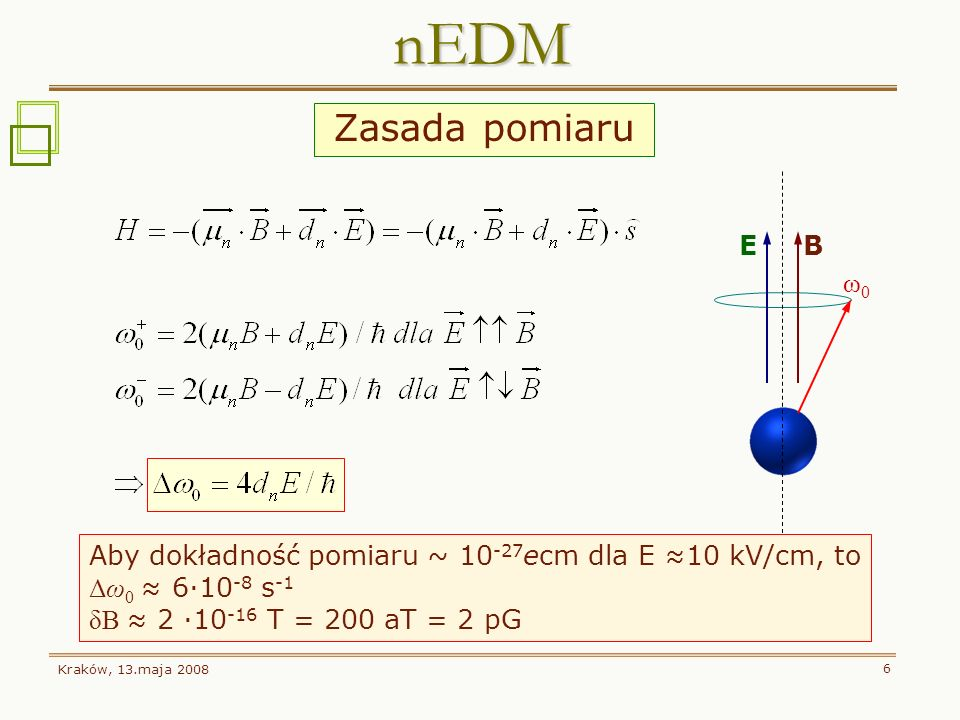 nEDM Zasada pomiaru E B ω0