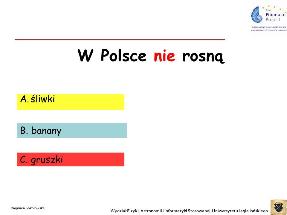 W Polsce nie rosną śliwki B. banany C. gruszki