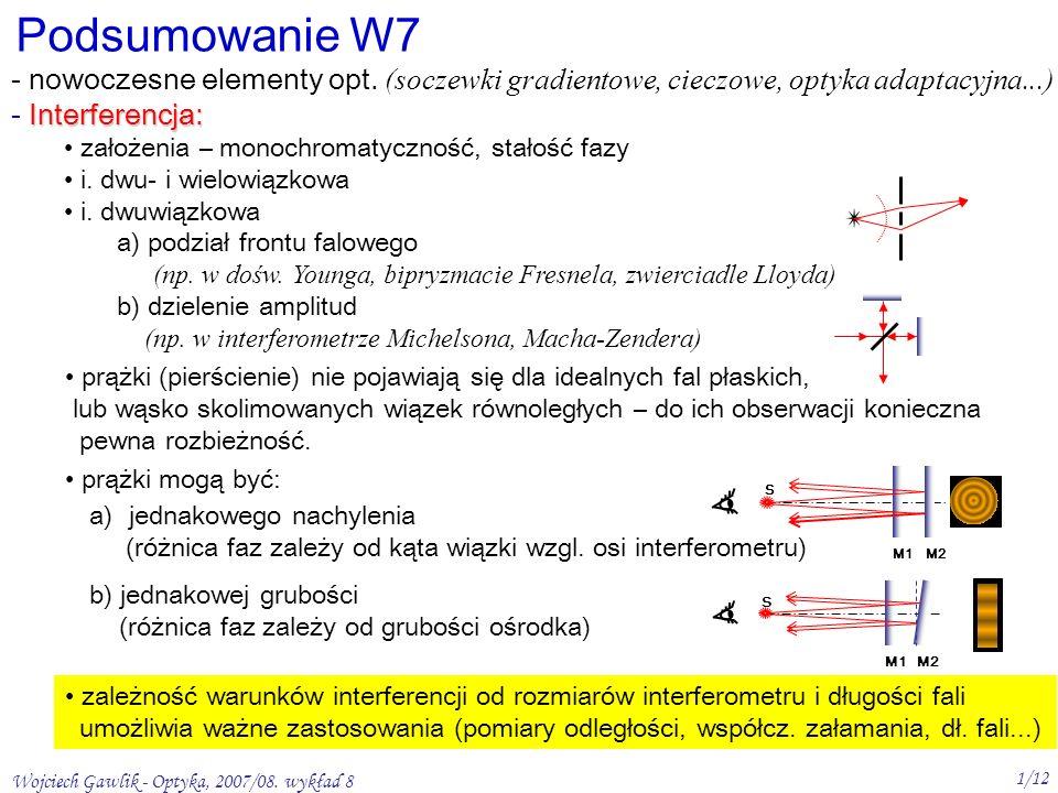 Podsumowanie W7 nowoczesne elementy opt. (soczewki gradientowe, cieczowe, optyka adaptacyjna...) Interferencja:
