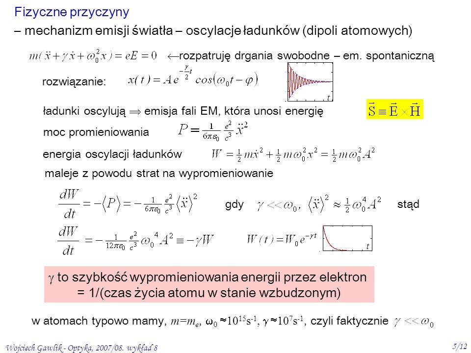– mechanizm emisji światła – oscylacje ładunków (dipoli atomowych)