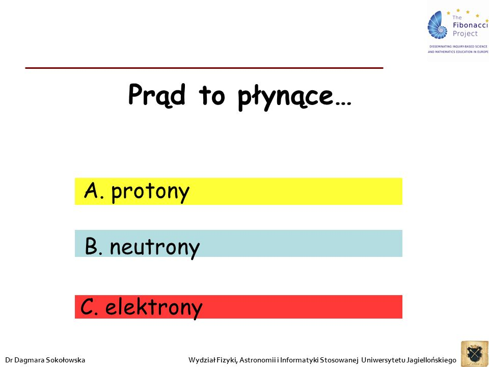 Prąd to płynące… protony B. neutrony C. elektrony