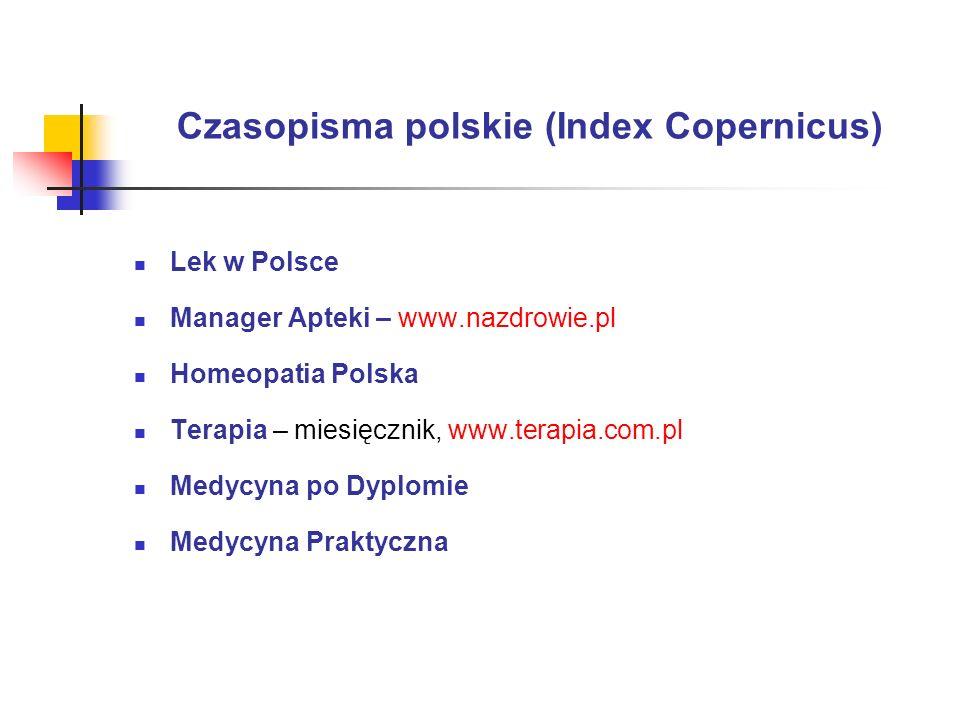 Czasopisma polskie (Index Copernicus)