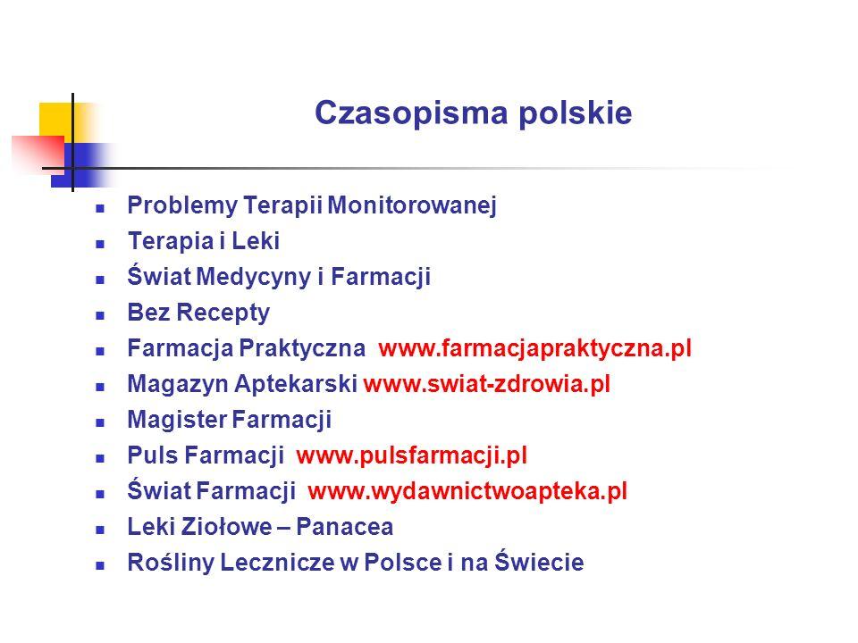 Czasopisma polskie Problemy Terapii Monitorowanej Terapia i Leki