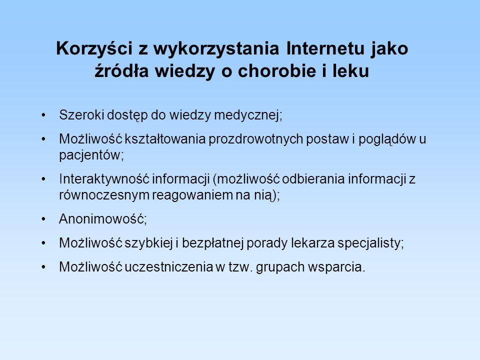 Korzyści z wykorzystania Internetu jako źródła wiedzy o chorobie i leku