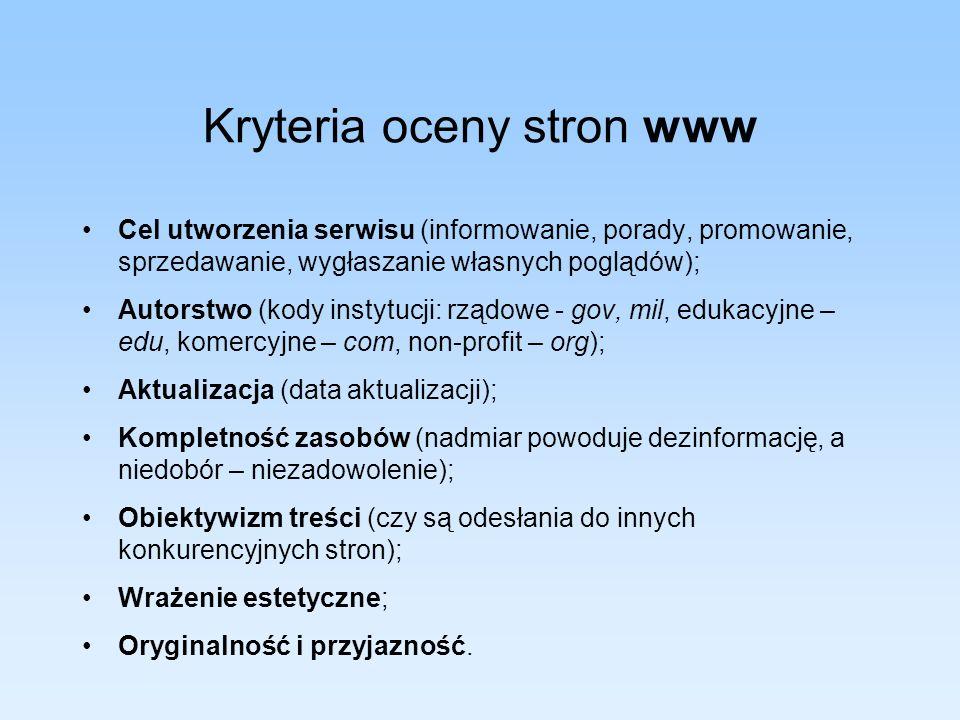 Kryteria oceny stron www