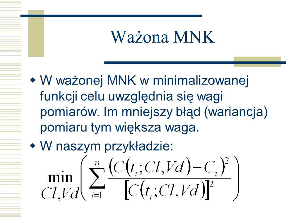 Ważona MNKW ważonej MNK w minimalizowanej funkcji celu uwzględnia się wagi pomiarów. Im mniejszy błąd (wariancja) pomiaru tym większa waga.