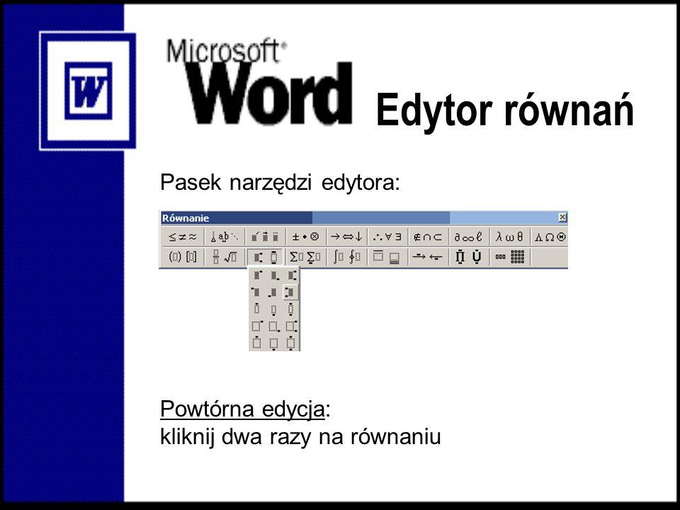 Edytor równań Pasek narzędzi edytora: Powtórna edycja: