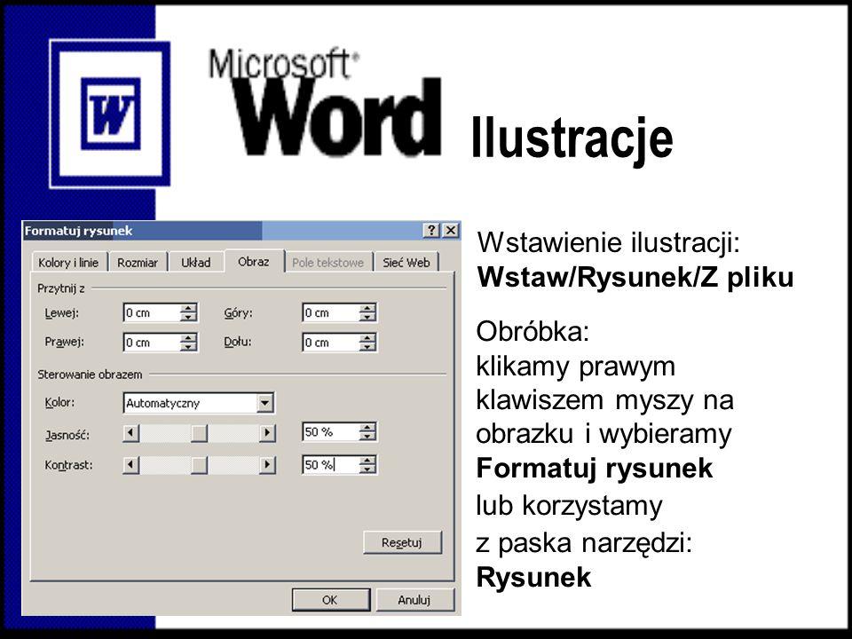 Ilustracje Wstawienie ilustracji: Wstaw/Rysunek/Z pliku Obróbka: