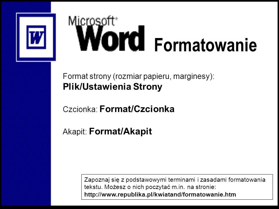Formatowanie Plik/Ustawienia Strony