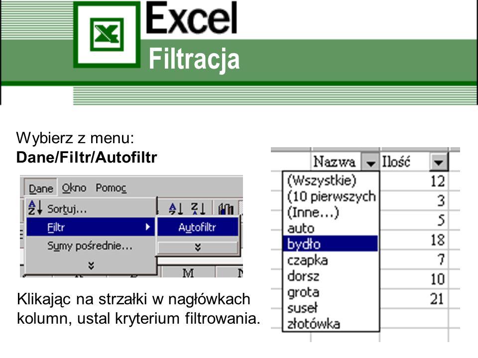 Filtracja Wybierz z menu: Dane/Filtr/Autofiltr