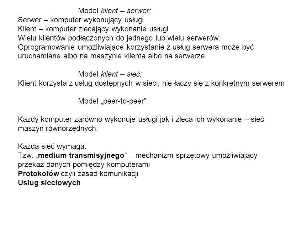 Model klient – serwer: Serwer – komputer wykonujący usługi. Klient – komputer zlecający wykonanie usługi.