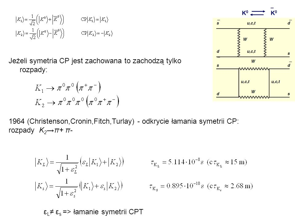 Jeżeli symetria CP jest zachowana to zachodzą tylko rozpady: