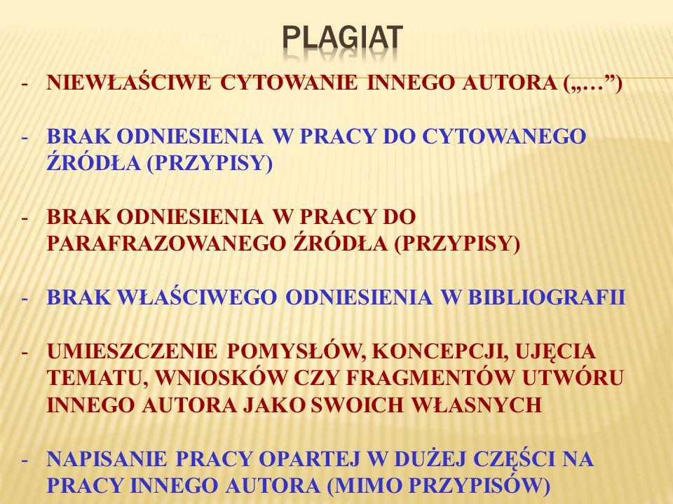 """PLAGIAT NIEWŁAŚCIWE CYTOWANIE INNEGO AUTORA (""""… )"""