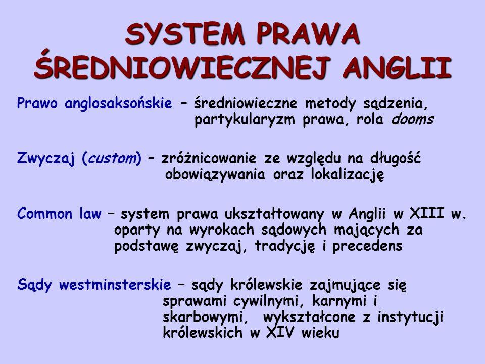SYSTEM PRAWA ŚREDNIOWIECZNEJ ANGLII