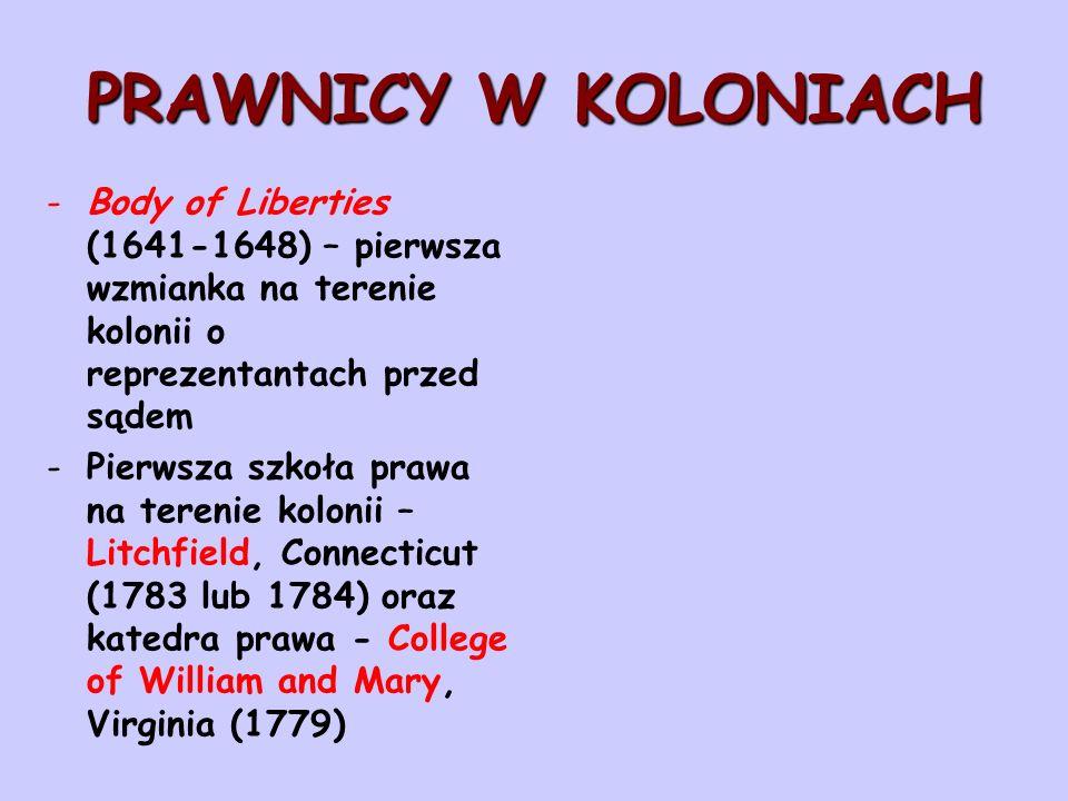 PRAWNICY W KOLONIACH Body of Liberties (1641-1648) – pierwsza wzmianka na terenie kolonii o reprezentantach przed sądem.