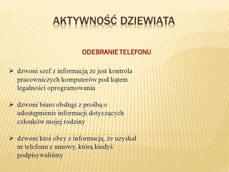 aktywność DZIEWIĄTA ODEBRANIE TELEFONU