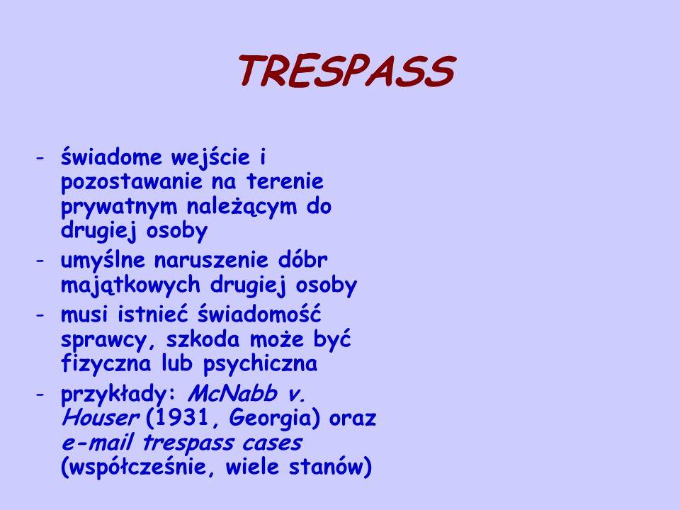 TRESPASS świadome wejście i pozostawanie na terenie prywatnym należącym do drugiej osoby. umyślne naruszenie dóbr majątkowych drugiej osoby.
