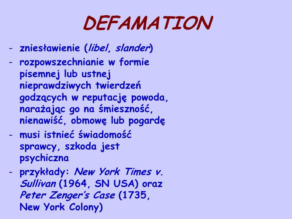 DEFAMATION zniesławienie (libel, slander)