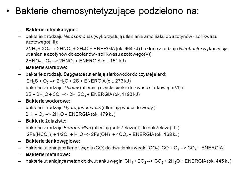 Bakterie chemosyntetyzujące podzielono na:
