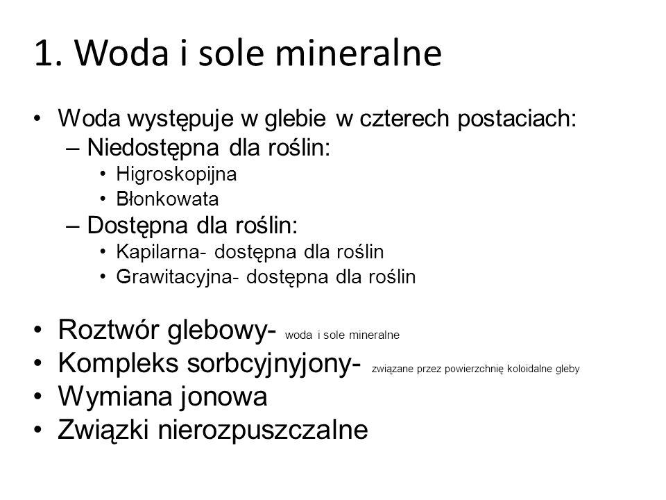 1. Woda i sole mineralne Roztwór glebowy- woda i sole mineralne