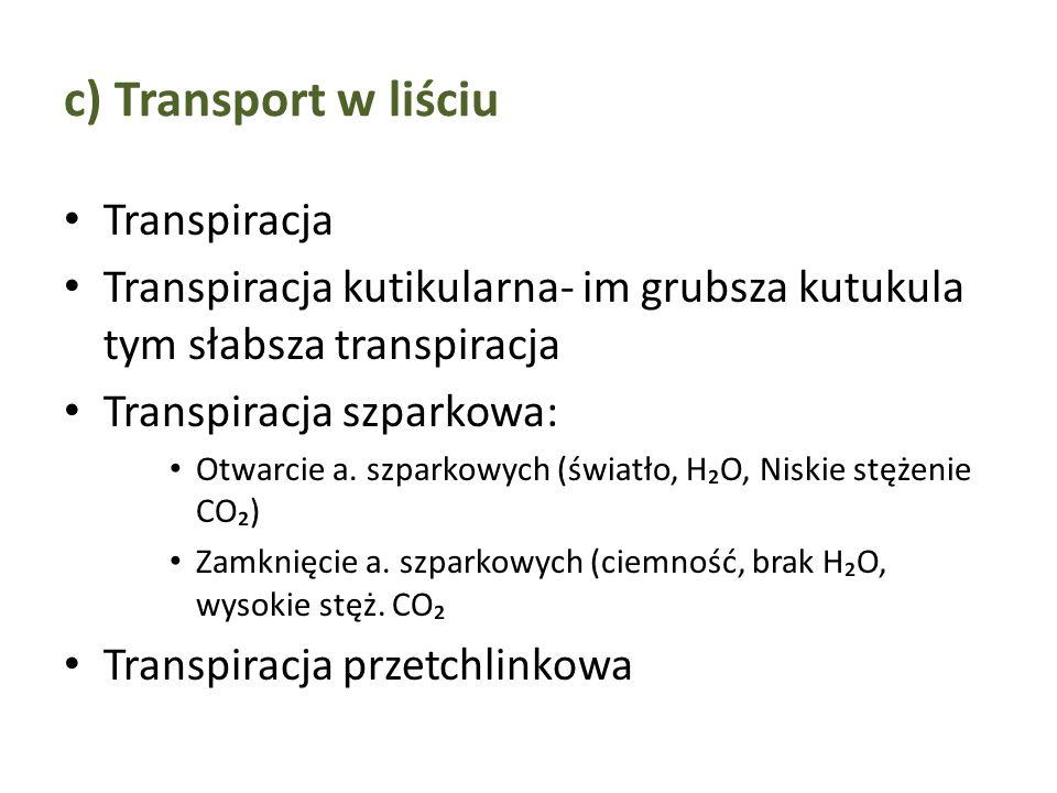 c) Transport w liściu Transpiracja