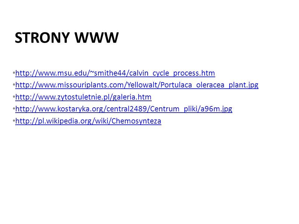 Strony www http://www.msu.edu/~smithe44/calvin_cycle_process.htm
