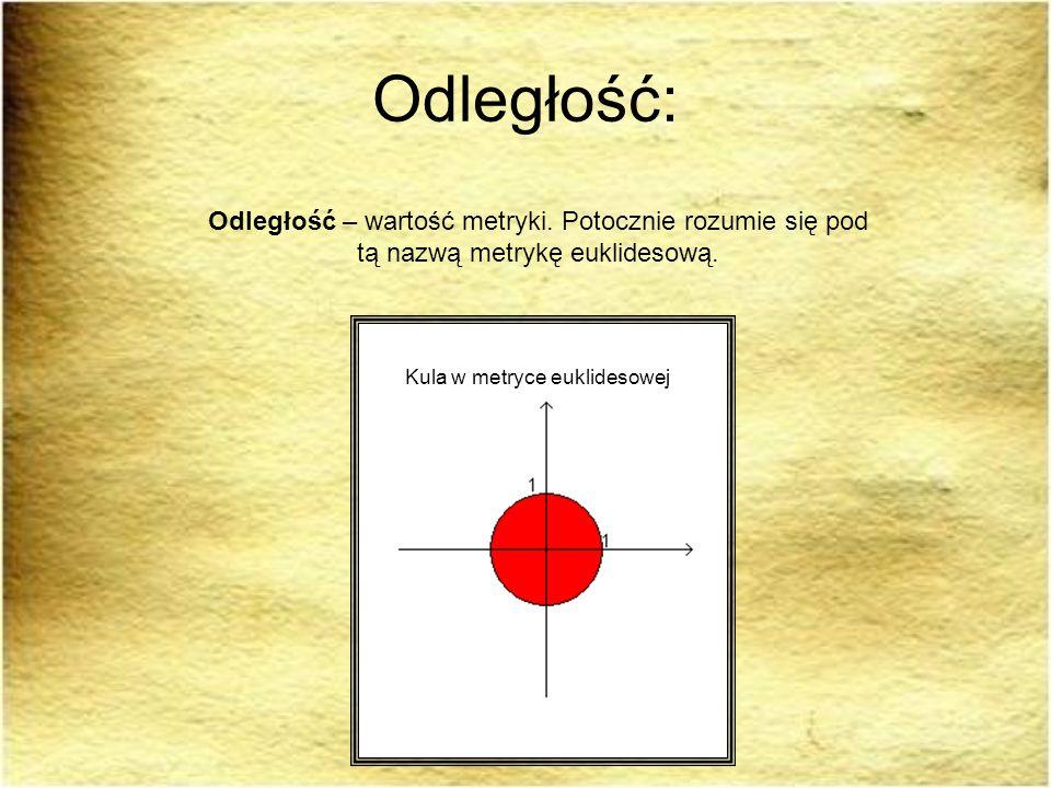 Odległość:Odległość – wartość metryki. Potocznie rozumie się pod tą nazwą metrykę euklidesową.