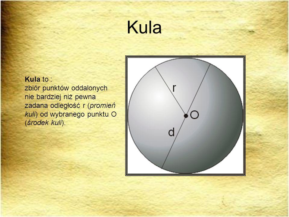 KulaKula to : zbiór punktów oddalonych nie bardziej niż pewna zadana odległość r (promień kuli) od wybranego punktu O (środek kuli).