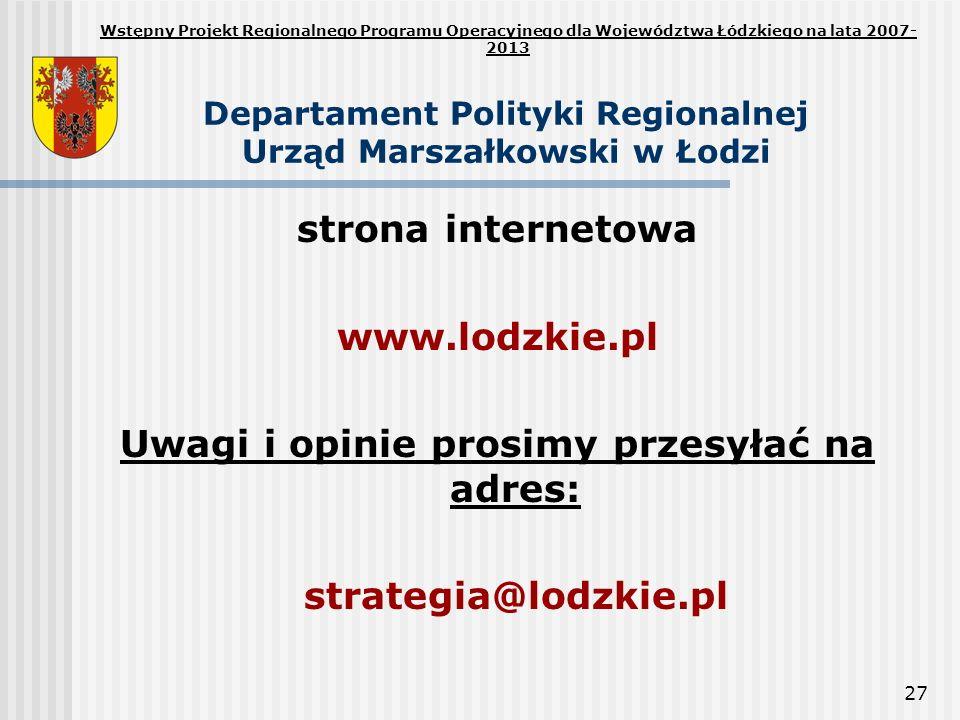 Departament Polityki Regionalnej Urząd Marszałkowski w Łodzi
