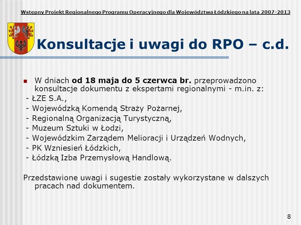 Konsultacje i uwagi do RPO – c.d.